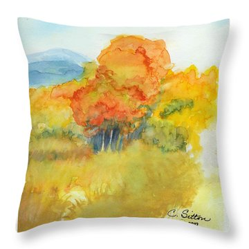 Throw Pillow featuring the painting Fall Trees 2 by C Sitton