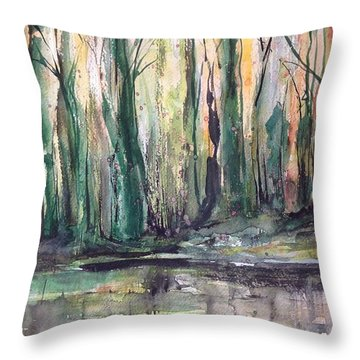 Fall Trees At Night Edge Throw Pillow