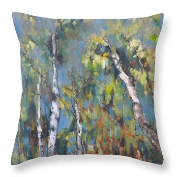 Fall Trees Throw Pillow by Lindsay Frost