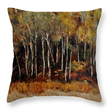 Fall Trees Number Two Throw Pillow by Lindsay Frost