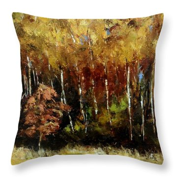 Fall Trees Three Throw Pillow by Lindsay Frost