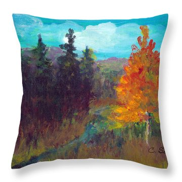 Throw Pillow featuring the painting Fall View by C Sitton