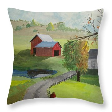 Throw Pillow featuring the painting Fall Walk by Norm Starks