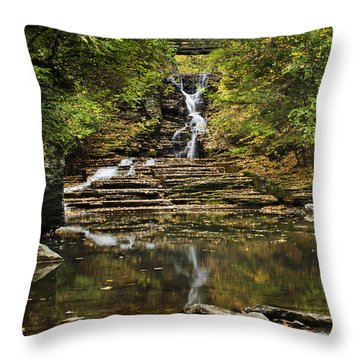 Fall Waterfall Creek Reflection Throw Pillow by Christina Rollo