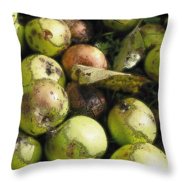 Throw Pillow featuring the digital art Fallen Aplles by Ron Harpham
