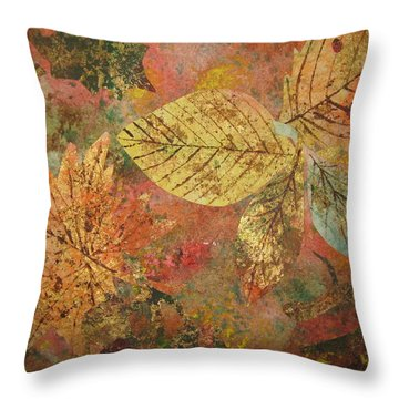 Throw Pillow featuring the painting Fallen Leaves II by Ellen Levinson