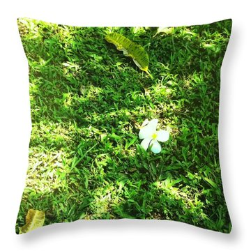 Throw Pillow featuring the photograph Fallen Plumeria  by Alohi Fujimoto