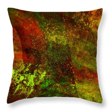 Throw Pillow featuring the mixed media Fallen Seasons by Ally  White