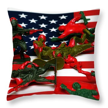 Fallen Toy Soliders On American Flag Throw Pillow by Amy Cicconi