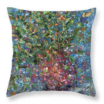 Throw Pillow featuring the painting Falling Flowers by James W Johnson