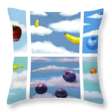Falling Fruit Group Throw Pillow