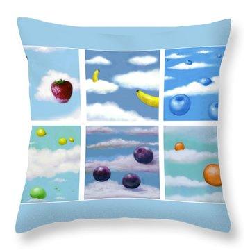Falling Fruit Group Throw Pillow
