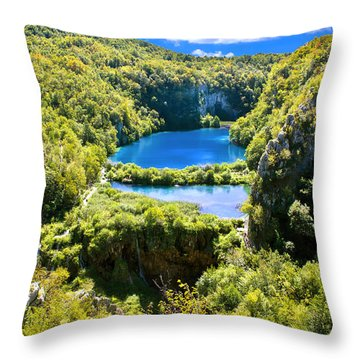Falling Lakes Of Plitvice National Park Throw Pillow by Brch Photography