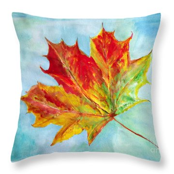 Falling Leaf - Painting Throw Pillow