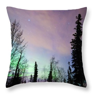 Falling Star And Aurora Throw Pillow by Ron Day