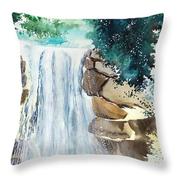 Falling Waters Throw Pillow by Anil Nene