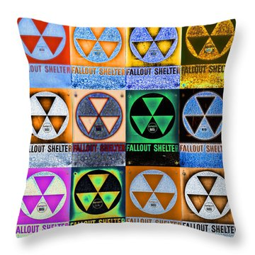 Fallout Shelter Mosaic Throw Pillow by Stephen Stookey