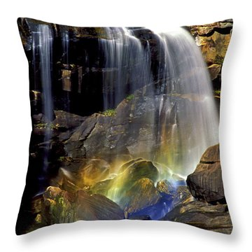 Falls And Rainbow Throw Pillow by Paul W Faust -  Impressions of Light