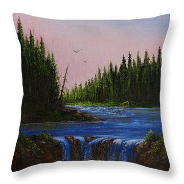 Falls At Rivers Bend Throw Pillow by C Steele
