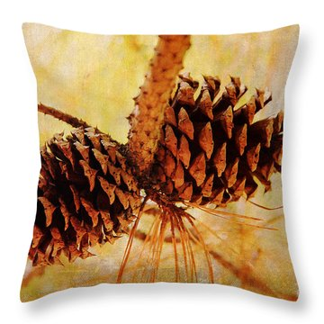 Throw Pillow featuring the photograph Fall's Golden Light by Trina  Ansel