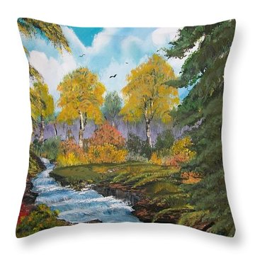 Throw Pillow featuring the painting Rushing Waters  Falls  by Sharon Duguay