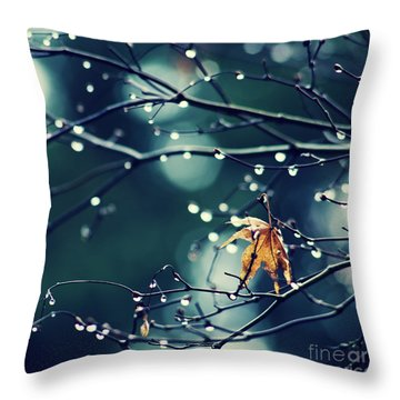 Fall's Last Leaf - Hipster Photo Square Throw Pillow