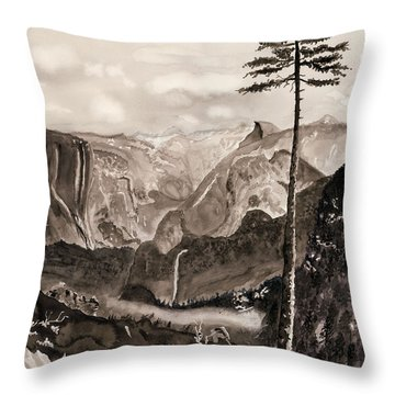 Falls Of The Yosemite Painting Throw Pillow by Warren Thompson