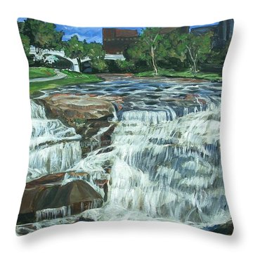 Falls River Park Throw Pillow by Bryan Bustard