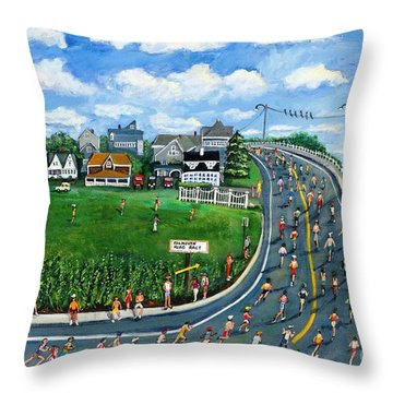 Falmouth Road Race Running Falmouth Throw Pillow