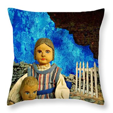 Throw Pillow featuring the mixed media Family by Ally  White
