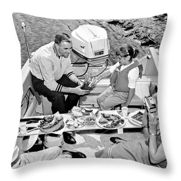 Family Boating Lunch Throw Pillow