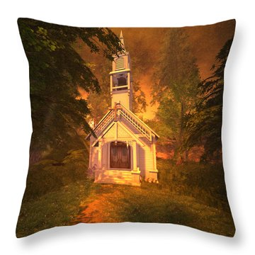 Throw Pillow featuring the digital art Family Chapel by Kylie Sabra