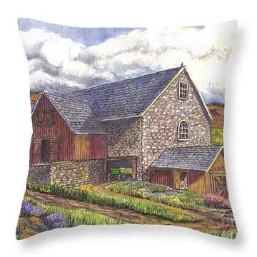 Throw Pillow featuring the drawing A Scottish Farm  by Carol Wisniewski
