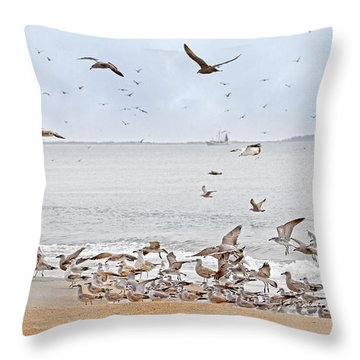 Family Flock  Throw Pillow