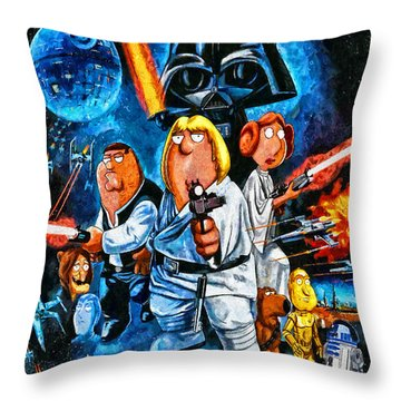Family Guy Star Wars Throw Pillow by Joe Misrasi