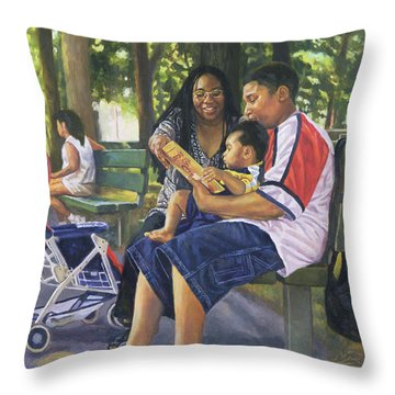 Family In The Park Throw Pillow by Colin Bootman