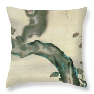 Family Of Monkeys In A Tree Throw Pillow by Japanese School
