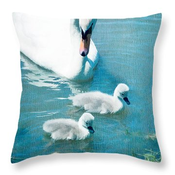 Family Of Swans At The Market Common Throw Pillow by Vizual Studio
