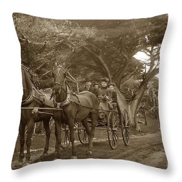Family Out Carriage Ride On The 17 Mile Drive In Pebble Beach Circa 1895 Throw Pillow