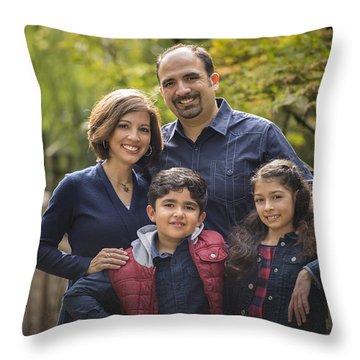 Family Portrait On Bridge - 1 Throw Pillow by Lori Grimmett