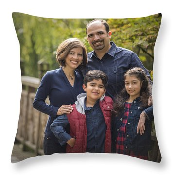 Family Portrait On Bridge - 2 Throw Pillow