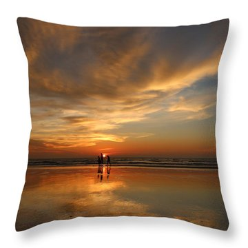 Family Reflections At Sunset - 2 Throw Pillow