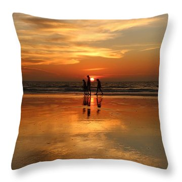 Family Reflections At Sunset -3  Throw Pillow