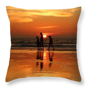 Family Reflections At Sunset - 1 Throw Pillow