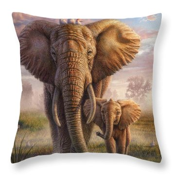 Family Stroll Throw Pillow