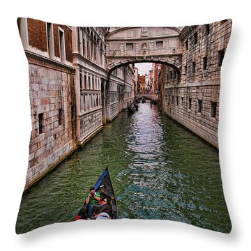 Family Trip Under The Bridge Of Sighs Throw Pillow