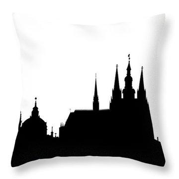 famous landmarks of Prague Throw Pillow by Michal Boubin