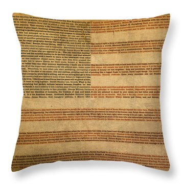 Famous Patriotic Quotes American Flag Word Art Throw Pillow