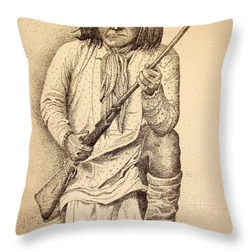 Famous Pose - Geronimo Throw Pillow by Marilyn Smith