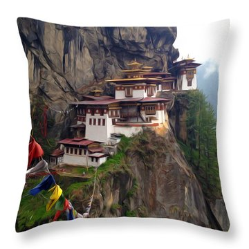 Famous Tigers Nest Monastery Of Bhutan 10 Throw Pillow by Lanjee Chee